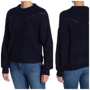 Elodie Knit Sweater Blue Navy Small Open stitch S